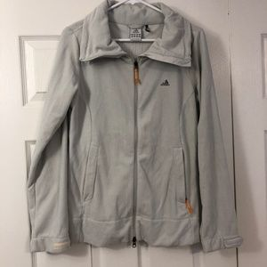 ADIDAS Light Grey Zip Up Fleece Jacket Sz M
